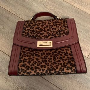Leopard and maroon top handle bag
